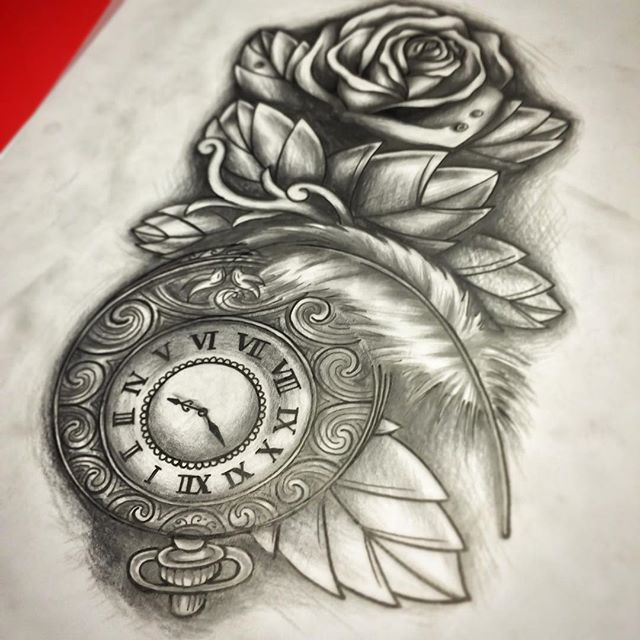 @marcelles.electric #sketch #tattoo#ink#tattoos#tatuering#gadd#stockholm#nicesthlm#blackandgray#rose#feather#pocketwhatch