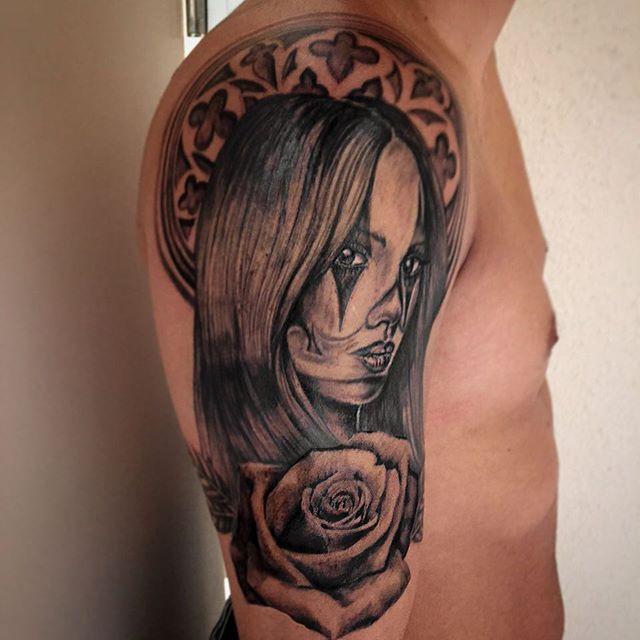 TB @piroz_tattoo #clown#girltattoo#tattoo#ink#tattoos#tatuering#gadd#stockholm#nicesthlm#blackandgray