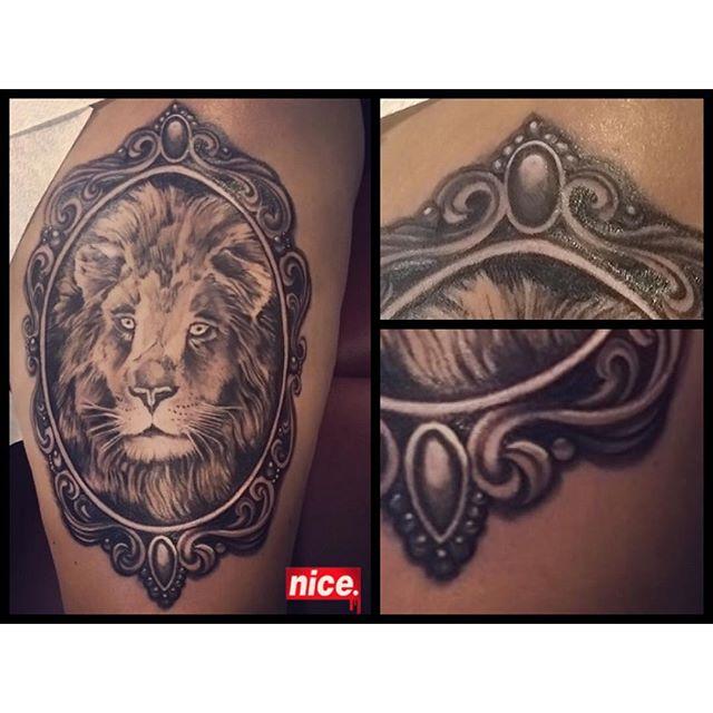 Done! @piroz_tattoo #leg#lion#liontatttoo#lejon#tattoo#ink#tattoos#tatuering#gadd#stockholm#nicesthlm#blackandgray